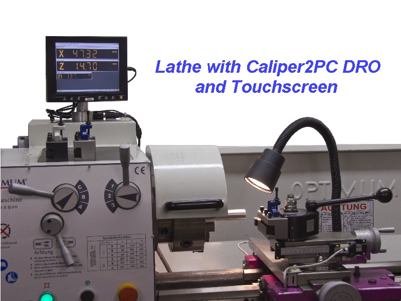 Optimum Lathe with Caliper2PC DRO and Touchscreen